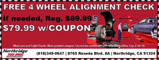 FREE 4-Wheel Alignment Check. If needed, Reg. $89.99, NOW $79.99 w/Coupon!